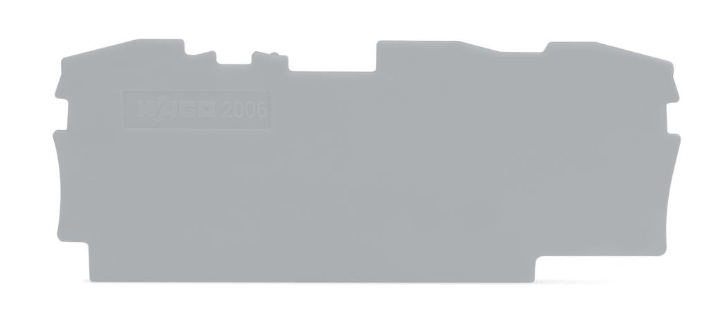 Placa Terminal e Intermediária para Bornes TOPJOBs 6mm - 3 condutores - cinza - 2006-1391