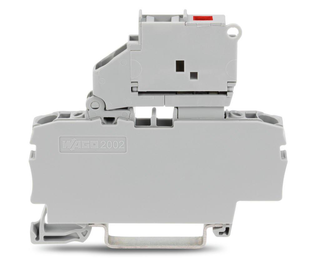 Borne Fusível 2,5mm - 2 Condutores - Cinza - C/LED 24V - 2002-1611/1000-541