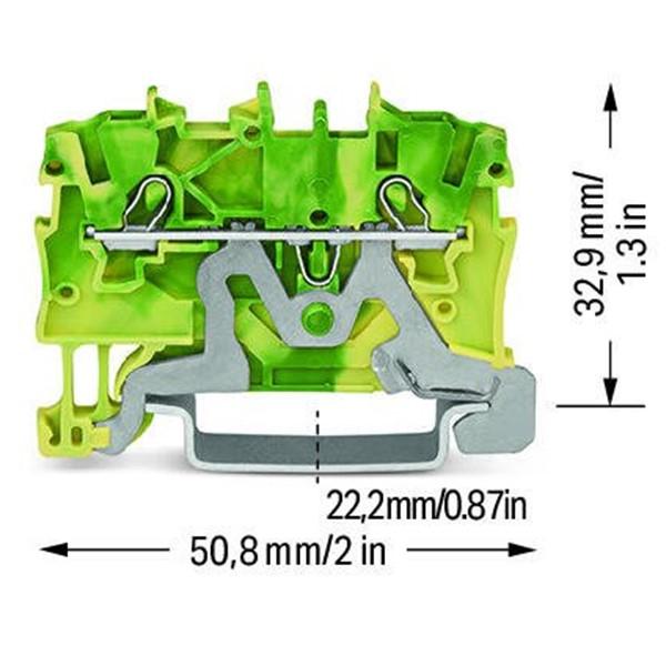 Borne 1 mm² - 2 Condutores - Terra - 2000-1207