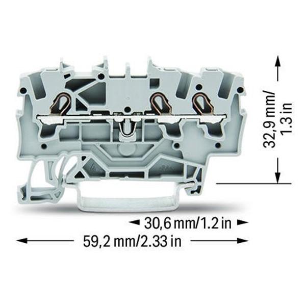 Borne 1,5mm - 3 Condutores - Cinza - 2001-1301