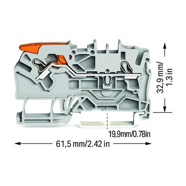Borne Alavanca 2,5mm - 2 Condutores - 2102-1201