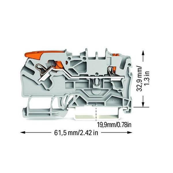 Borne com alavanca e botão 2,5mm - 2102-5201