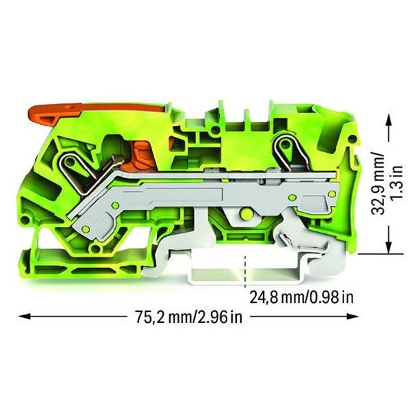 Borne Alavanca 6mm² - Terra - 2106-1207