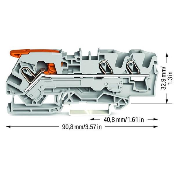 Borne Alavanca 2,5mm - 3 Condutores - Cinza - 2106-1301