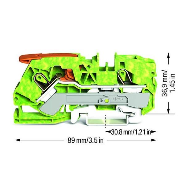 Borne Alavanca 10mm² - 2 Cond. - Terra - 2110-1207
