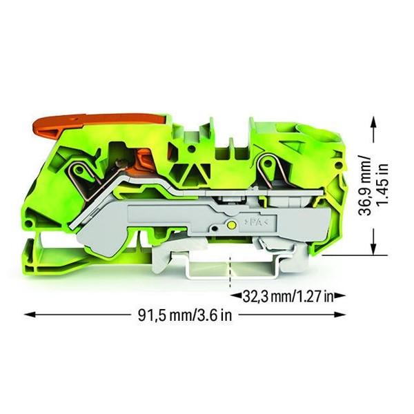 Borne Alavanca 16mm² - 2 Cond. - Terra - 2116-1207