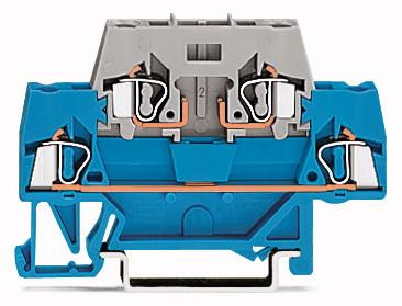 Borne Conector de Passagem 2,5mm - 2 Andares - Cinza e Azul - 280-514