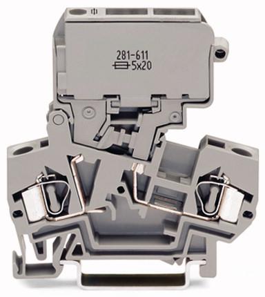 Borne Fusível 4mm - 2 Condutores - Cinza - 281-611