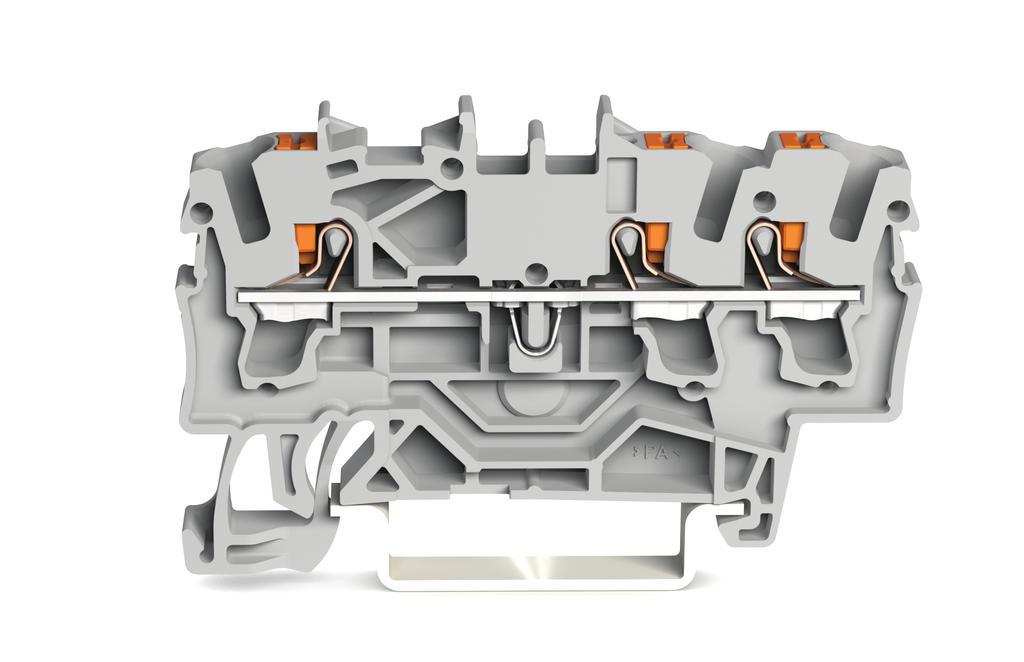 Borne com Botão 2,5mm - 3 Condutores - Cinza - 2202-1301