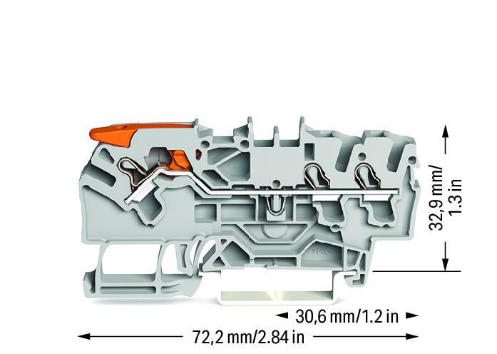Borne Alavanca 2,5mm - 3 Condutores - Cinza - 2102-1301