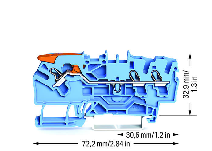 Borne Alavanca 2,5mm - 3 Condutores - Azul - 2102-1304
