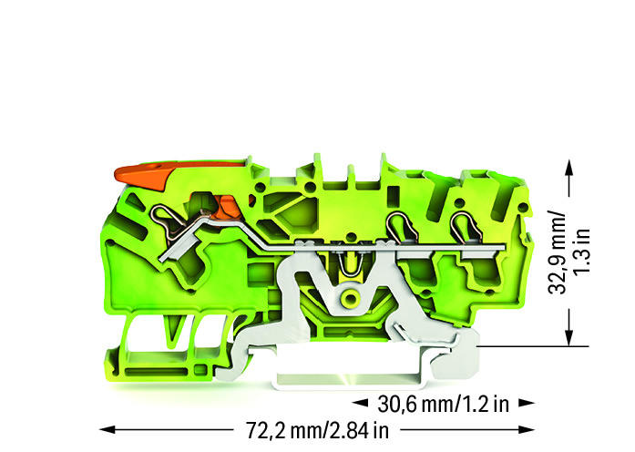 Borne Alavanca 2,5mm - 3 Condutores - Terra - 2102-1307