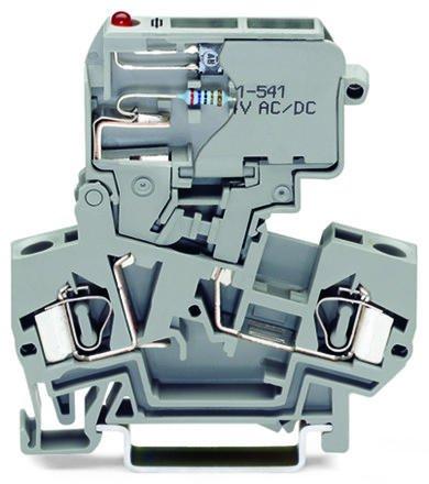 Borne porta Fusível de 4mm - 2 Condutores - Cinza - C/LED -  281-611/281-541