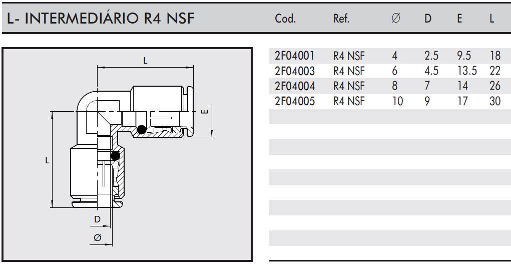 Conexão L Intermediária R4 NSF Tubo: 8mm - Indústria Alimentícia