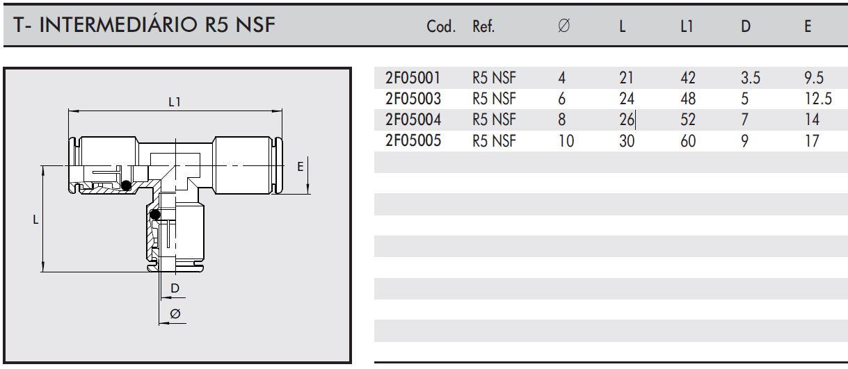 Conexão T Intermediária R5 NSF Tubo: 8mm - Indústria Alimentícia