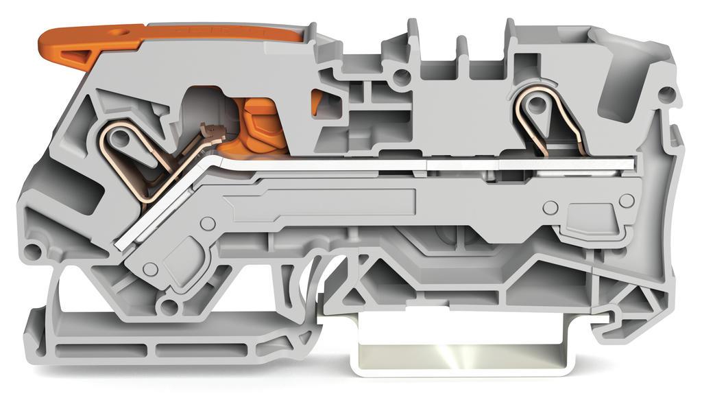 Borne Alavanca 6mm - 2 Condutores - Cinza - 2106-1201