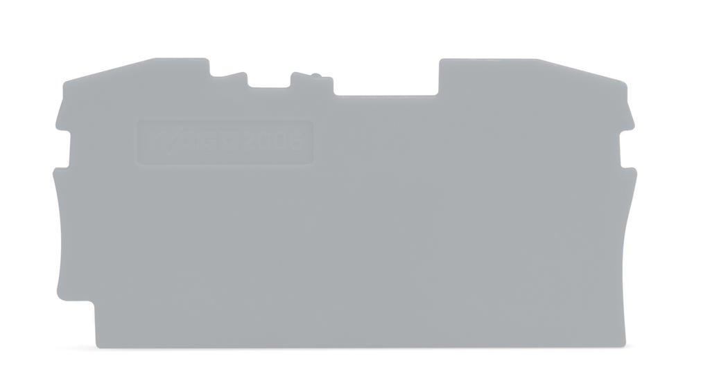 Placa Final e Intermediária para Bornes TOPJOB 6mm - cinza